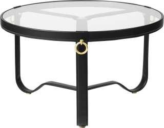 Gubi - Adnet Coffee Table - schwarzes Leder - Circular ø 70 - indoor
