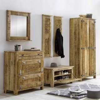 Shabby Chic Garderobenmöbel aus Mangobaum Massivholz 250 cm breit (6-teilig)