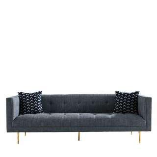 3er Sofa in Grau Webstoff Metallgestell in Goldfarben