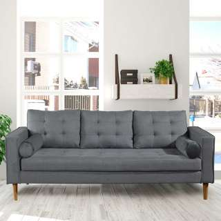 Dreisitzer Sofa in Grau Webstoff 205 cm breit