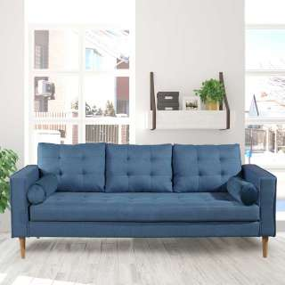 Wohnzimmercouch in Blau Webstoff 205 cm breit