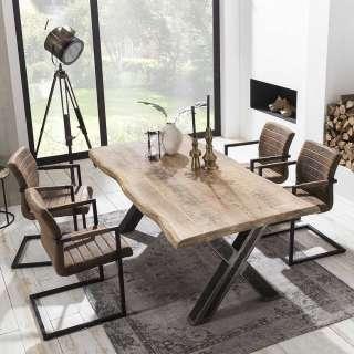 Baumkanten Sitzgruppe aus Mangobaum Massivholz Braun Kunstleder (5-teilig)