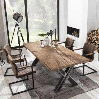 Sitzgarnitur im Loft Design Teak Recyclingholz und Braun Kunstleder (5-teilig)