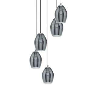 Wohnzimmer Hängeschrank mit LED Beleuchtung Weiß Eiche Grau