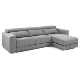 Sofa Eckgarnitur in Hellgrau Webstoff Sitztiefenverstellung und Bettkasten