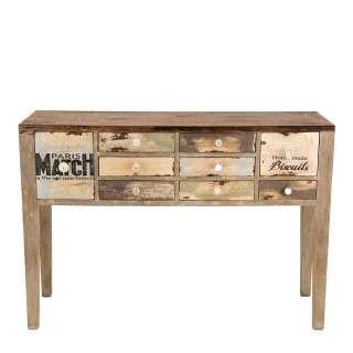 Konsolentisch aus Massivholz neun Schubladen