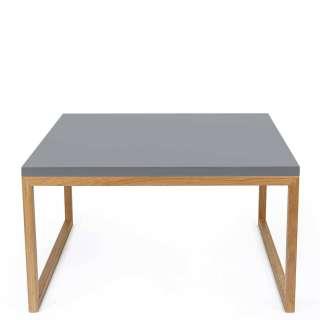 Sofa Beistelltisch in Grau und Eichefarben 60 cm breit