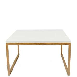 Beitisch in Weiß und Eichefarben 70 cm breit