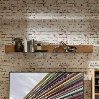 Wohnzimmer Wandboard aus Wildeiche Massivholz Glasboden