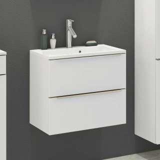 Waschbeckenunterschrank in Weiß zwei Schubladen