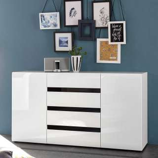 Design Sideboard in Hochglanz Weiß und Schwarz 155 cm breit
