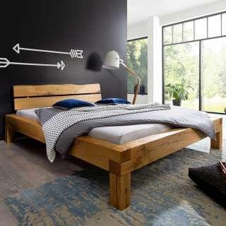 Balken Holzbett aus Wildeiche Massivholz rustikalen Design