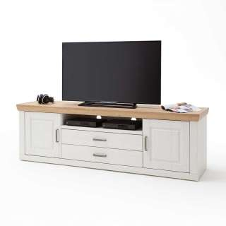 TV Unterschrank in Weiß und Eiche Optik Landhausstil