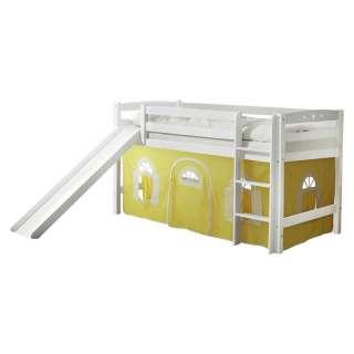 Infanskids Etagenbett Weiß mit gerader Leiter und Rollrost, 90x200cm,