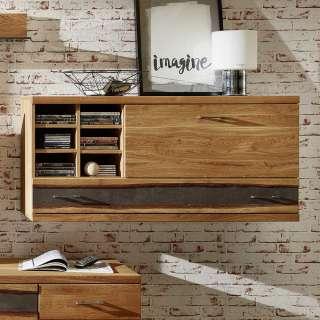 Wohnzimmer Oberschrank aus Wildeiche teilmassiv rustikalen Landhaus Design