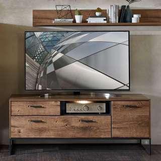 Fernseh Unterschrank im Loft Design Eiche dunkel Optik und Dunkelgrau