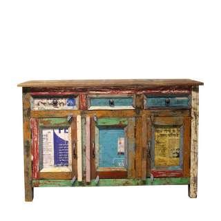 Auffälliges Sideboard im Shabby Chic Design buntem Recyclingholz