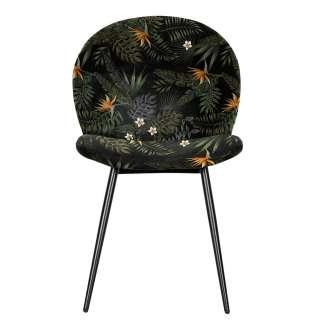 Design Stühle floral gemustert Samtbezug (2er Set)