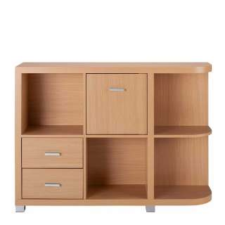 Niedriges Regal in Buchefarben zwei Schubladen und Tür