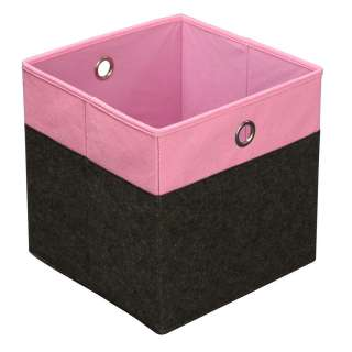 FALTBOX Metall, Textil, Karton Anthrazit, Rosa