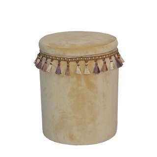 Sitzhocker in Beige Samt orientalischen Design