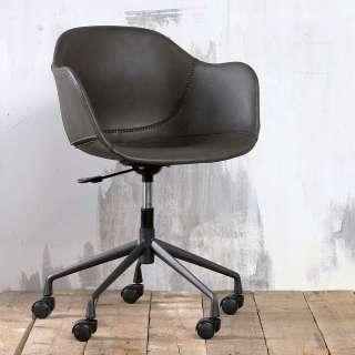 Schreibtisch Drehstuhl in Dunkelgrau Kunstleder höhenverstellbar