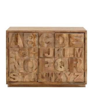 Design Holzkommode mit Buchstaben Motiven Mangobaum Massivholz