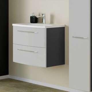 Waschtischunterschrank in Hellgrau und Dunkelgrau Einlass-Waschbecken