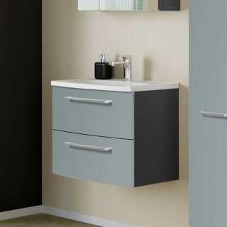 Waschbeckenunterschrank in Graugrün und Dunkelgrau 60 cm breit