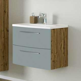 Design Waschtischunterschrank in Graugrün und Wildeiche Optik zwei Schubladen