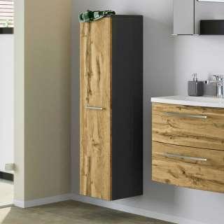 Badezimmer Hochschrank in Wildeichefarben und Dunkelgrau modern