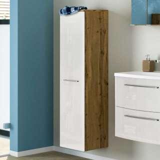 Badezimmer Hochschrank in Weiß Hochglanz und Wildeiche Optik 30 cm breit