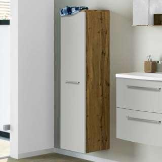 Badezimmerschrank in Hellgrau und Wildeiche Optik 30 cm breit