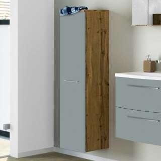 Badezimmer Hochschrank in Graugrün und Wildeiche Optik 30 cm breit