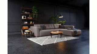 TV Sessel in Schlamm Leder mit Hocker (2-teilig)