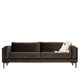 Dreier Sofa in Dunkelgrün Samt modern