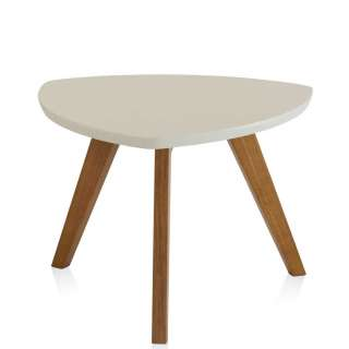 Wankelform Couchtisch in Creme Weiß und Eichefarben Retro Design
