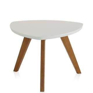 Design Beistelltisch im Retrostil Weiß und Eichefarben