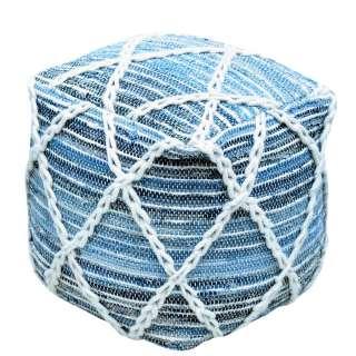 Pouf in Blau und Weiß Webstoff