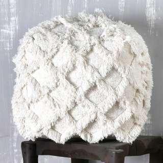Sitzpouf in Creme Weiß Webstoff modern
