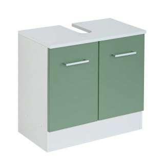 Waschbeckenunterschrank in Grün und Weiß 2 Türen