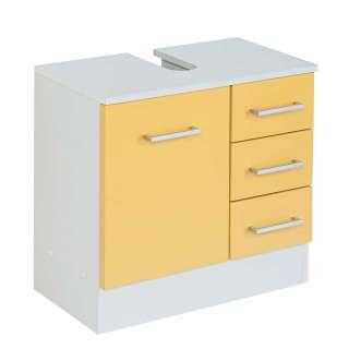 Waschtischunterschrank in Gelb und Weiß Tür und Schubladen