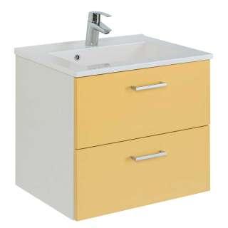 Waschbeckenschrank in Gelb und Weiß zwei Schubladen