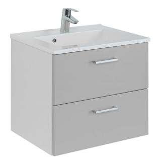 Waschtischunterschrank in Hellgrau und Weiß zwei Schubladen