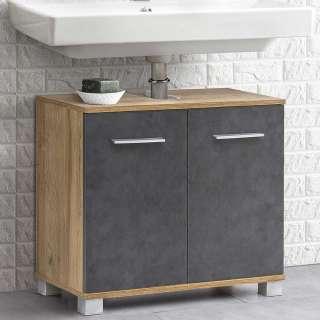 Waschbeckenschrank in Dunkelgrau und Eiche Optik 60 cm breit