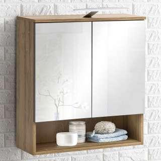 Badezimmerspiegelschrank in Eichefarben LED Beleuchtung