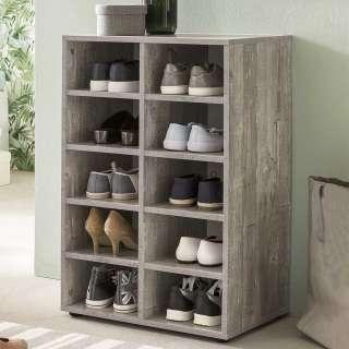 Fächerregal für Schuhe Beton Grau