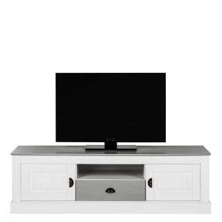 Fernsehmöbel in Weiß und Grau Kiefer Massivholz