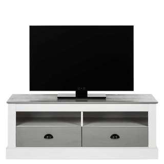 Fernsehmöbel im Landhausstil Weiß und Grau massiv