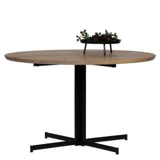 Runder Tisch mit Massivholzplatte Sterngestell aus Metall